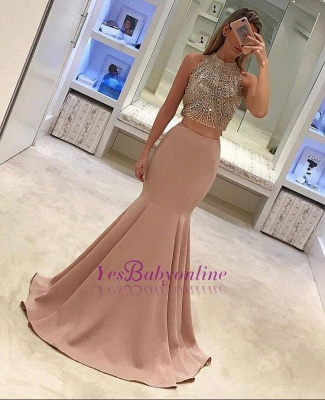 Gorgeous Two-Piece Mermaid Prom Dresses Pink Beads Sleeveless Long Evening Gowns_1