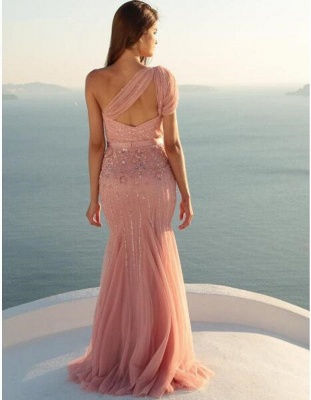Long Mermaid Beads Modest Sleeveless One-Shoulder Prom Dress_3