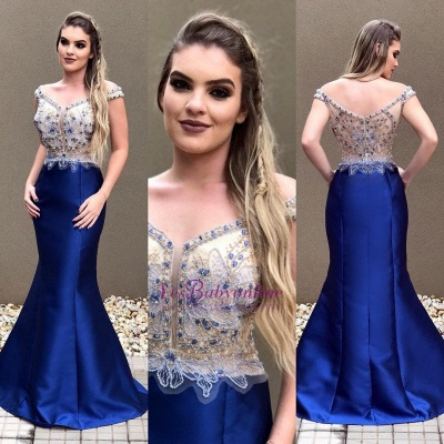 Crystal Sexy Blue Zipper Off-the-Shoulder Prom Dress_1