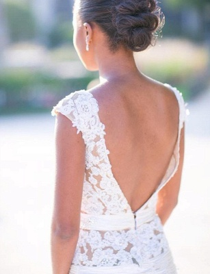 Cap-Sleeves White Mermaid Open-Back Appliques Tulle Wedding Dress_3