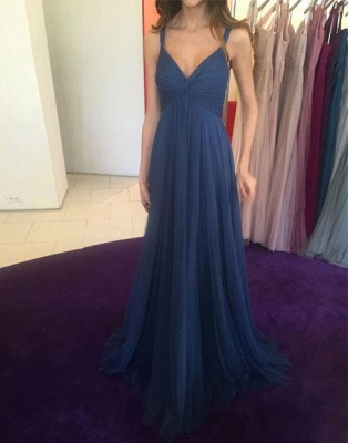 Simple Long V-neck Blue Evening Dress_2