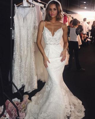 Backless Lace Sexy Mermaid Wedding Dresses  | Spaghetti Straps Cheap Bridal Dress_4
