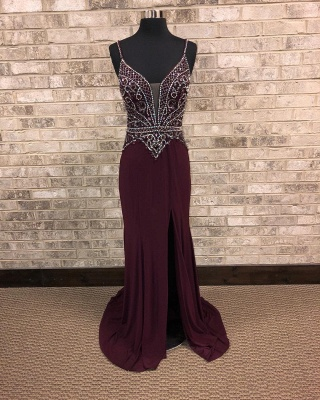 Spaghetti-Straps A-Line Front-Slit Brilliant Beading Prom dresses_3