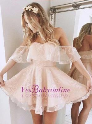 Cute Pink Homecoming Dresses Off-the-Shoulder Short Graduation Dress_1