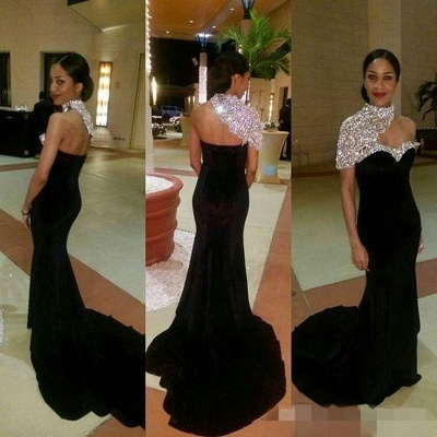 Crystal One-Shoulder Black High-neck Elegant Mermaid Prom Dresses_3