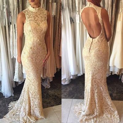 Elegant Sleeveless High-Neck Open-Back Mermaid Lace Prom Dress_3