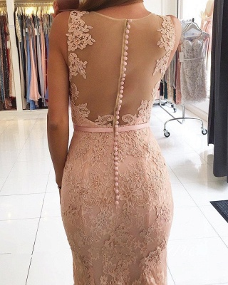 Sexy Mermaid Pink Lace Long Evening Dresses_3