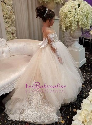 Lace Long-Sleeve Romantic Flower Ball Gown Girls Dresses_1