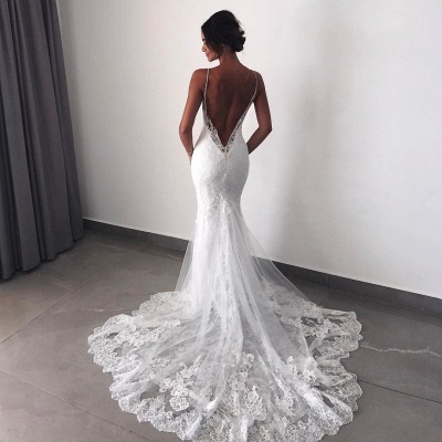 Backless Lace Sexy Mermaid Wedding Dresses  | Spaghetti Straps Cheap Bridal Dress_5