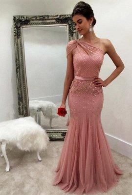Long Mermaid Beads Modest Sleeveless One-Shoulder Prom Dress_2