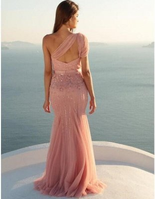 Long Mermaid Beads Modest Sleeveless One-Shoulder Prom Dress_3