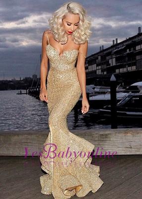 Ruffles-Skirt Gold Mermaid Side-Slit Sequins Spaghettis-Straps Prom Dresses_1