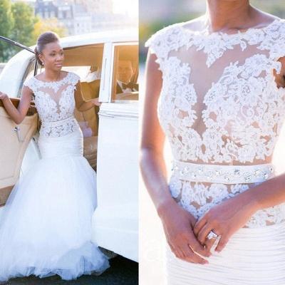 Cap-Sleeves White Mermaid Open-Back Appliques Tulle Wedding Dress_5