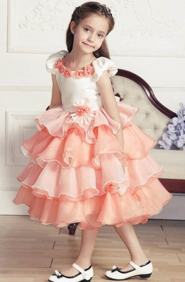 A-Line Organza Satin Short Sleeve Layered Flower Girl Dress