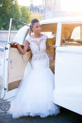 Cap-Sleeves White Mermaid Open-Back Appliques Tulle Wedding Dress_2