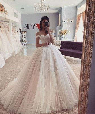 Off the Shoulder Tulle Ball Gown Wedding Dresses | Puffy Bridal Gowns_2