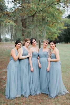 Blue Sleeveless Long Fashion Tulle Bridesmaid Dresses_3