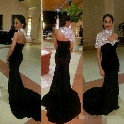 Crystal One-Shoulder Black High-neck Elegant Mermaid Prom Dresses_3