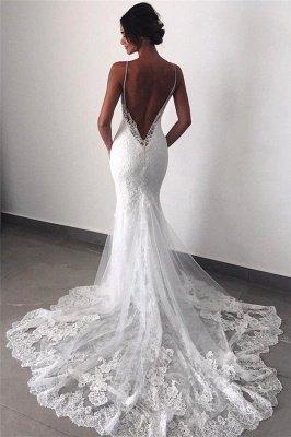 Backless Lace Sexy Mermaid Wedding Dresses  | Spaghetti Straps Cheap Bridal Dress_1