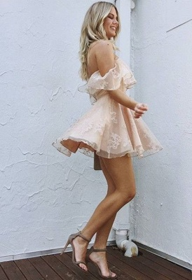 Cute Pink Homecoming Dresses Off-the-Shoulder Short Graduation Dress_3