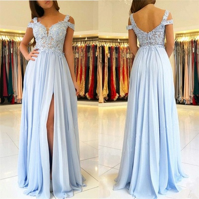 A-line Long Slit Prom Dresses   Appliques Spaghetti Evening Gowns_3