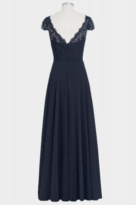 A Line Chiffon Lace Cap Sleeves Floor Length Bridesmaid Dresses_2