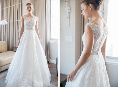 Floor-length Scoop-neckline A-line Lace Sleeveless Simple Wedding Dress_3
