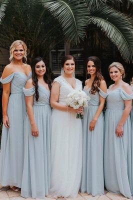 Elegent Off The Shoulder Long Bridesmaid Dress   Chiffon Full Length Wedding Party Dresses_1