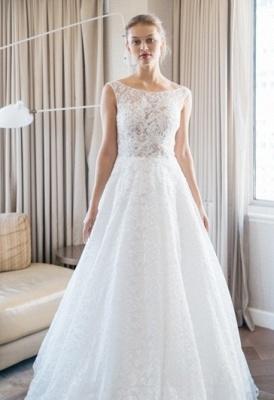 Floor-length Scoop-neckline A-line Lace Sleeveless Simple Wedding Dress_2