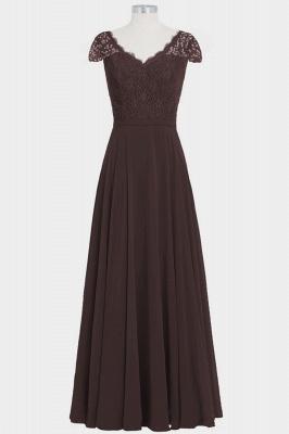 A Line Chiffon Lace Cap Sleeves Floor Length Bridesmaid Dresses_5