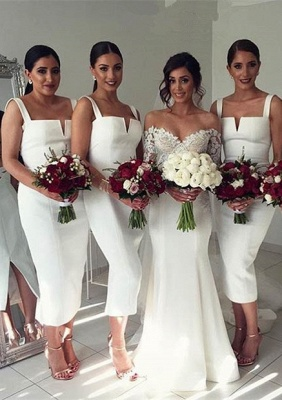 Modest Sleeveless Bodycon Straps Tea-Length White Bridesmaid Dress_2