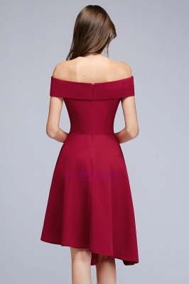 Cheap A-line Asymmetrical Short Off-the-shoulder Burgundy Prom Dress in Stock_5