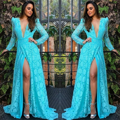 Sexy Deep V-Neck Lace Cheap Evening Dresses | Long Sleeves Side Slit Evening Gowns_3