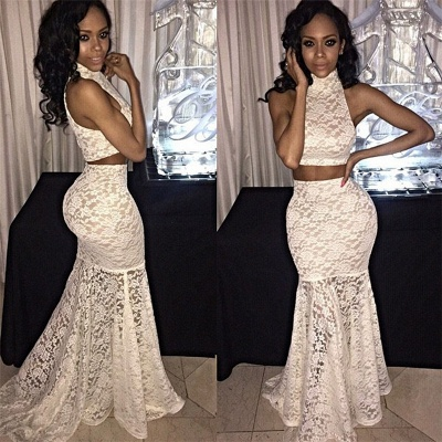 Two-Piece Sweep-Train Mermaid Lace Sexy High-Neck Sleeveless Prom Dress_3
