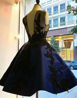 Lace A-line Knee-length Applique Dark-blue Evening Dress_5