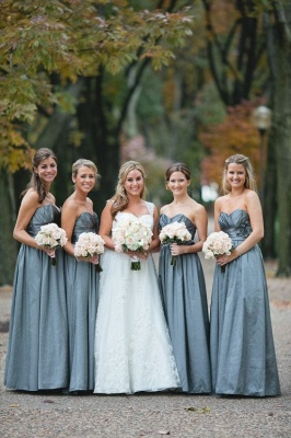 Sleeveless Sweetheart Blue Chic Long Bridesmaid Dresses_2