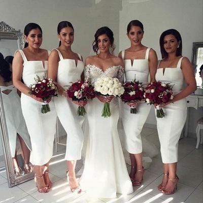 Modest Sleeveless Bodycon Straps Tea-Length White Bridesmaid Dress_3