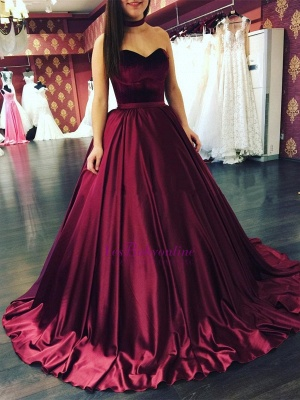 Elegant Sleeveless Sweetheart Sweep-Train Puffy Prom Dresses_1
