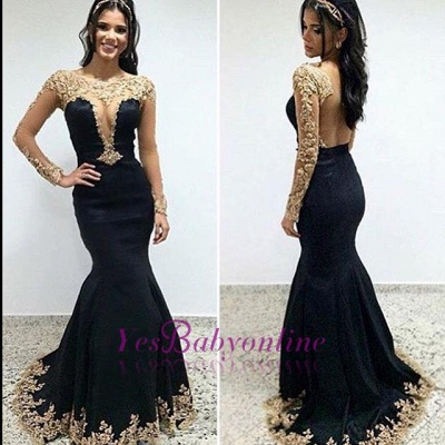 Trumpet-Mermaid Floor-length Scoop Long-sleeves Appliques Evening Dress_3