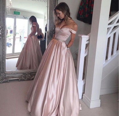 2019 Pearl Pink Prom Dresses Off-the-Shoulder Beading with Pockets Puffy Formal Gowns_3