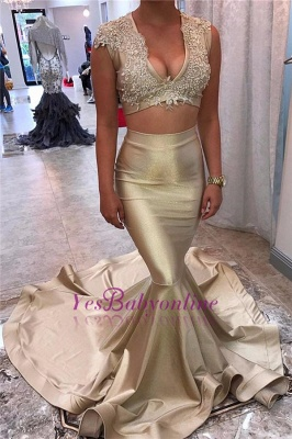 Sexy Two-Piece Prom Dresses V-Neck Champagne Lace Beading Evening Gowns_1
