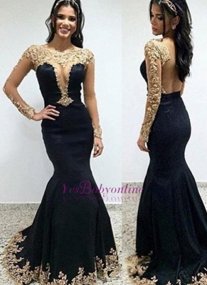 Trumpet-Mermaid Floor-length Scoop Long-sleeves Appliques Evening Dress_1