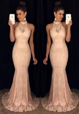 Lace Elegant Mermaid High-Neck Sleeveless Sweep-Train Prom Dress_2