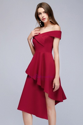 Cheap A-line Asymmetrical Short Off-the-shoulder Burgundy Prom Dress in Stock_8