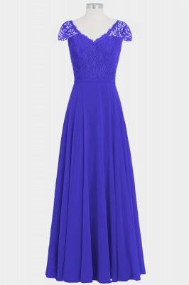 A Line Chiffon Lace Cap Sleeves Floor Length Bridesmaid Dresses_3