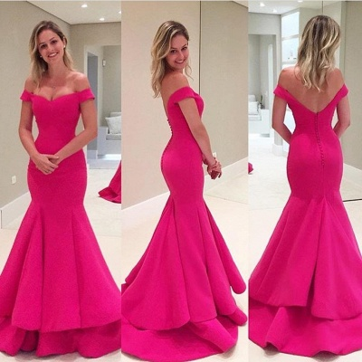 Short Mermaid Sleeves Fuchsia Off-The-Shoulder Prom Dress_3