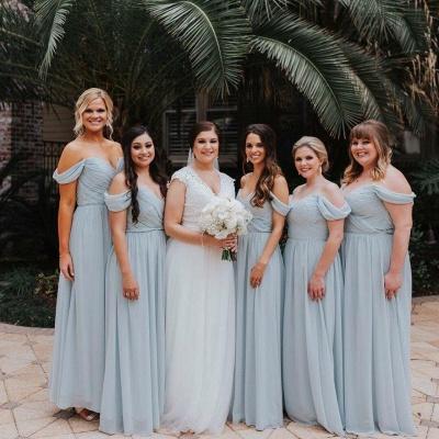 Elegent Off The Shoulder Long Bridesmaid Dress   Chiffon Full Length Wedding Party Dresses_4