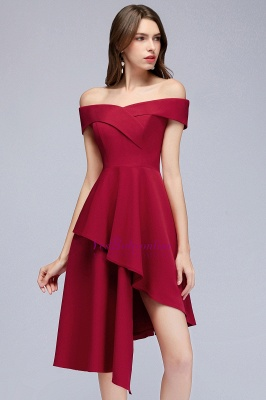 Cheap A-line Asymmetrical Short Off-the-shoulder Burgundy Prom Dress in Stock_9
