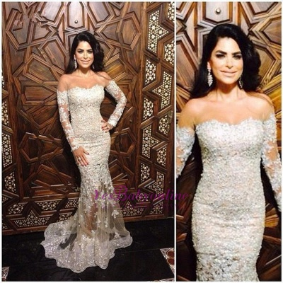 Off-The-Shoulder Appliques Sexy Mermaid Charming Lace Long-Sleeve Illusion Evening Dress_1