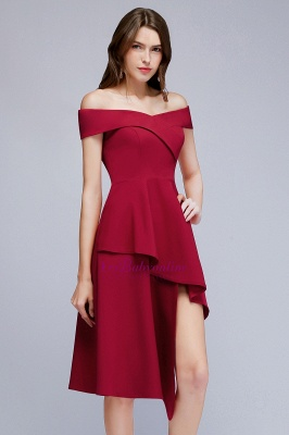Cheap A-line Asymmetrical Short Off-the-shoulder Burgundy Prom Dress in Stock_7